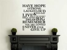 "Wall Quote ""Have Hope, Be Strong..""  Wall Art Sticker, Vinyl Decal, Transfer."